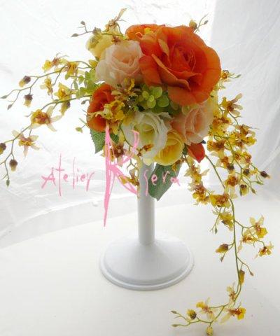 画像3: 造花オレンジローズ・オンジジューム クレセントブーケ・ブトニア・ヘッドパーツセット