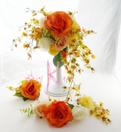 画像1: 造花オレンジローズ・オンジジューム クレセントブーケ・ブトニア・ヘッドパーツセット