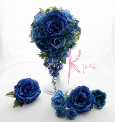 画像2: 造花ブルーローズ ショートキャスケードブーケ・ブトニア・ヘッドパーツセット