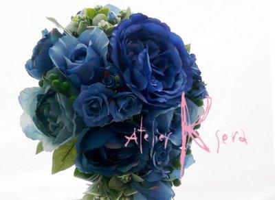 画像3: 造花ブルーローズ ショートキャスケードブーケ・ブトニア・ヘッドパーツセット