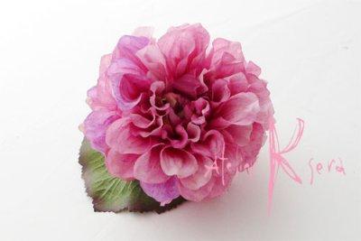画像2: 造花パープルピンクとパープルダリア クラッチブーケ・ブトニア・ヘッドパーツセット