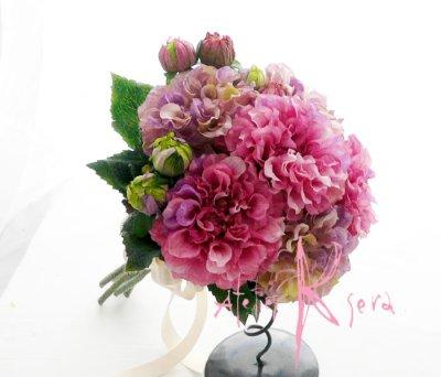 画像1: 造花パープルピンクとパープルダリア クラッチブーケ・ブトニア・ヘッドパーツセット