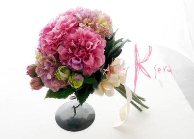画像4: 造花パープルピンクとパープルダリア クラッチブーケ・ブトニア・ヘッドパーツセット