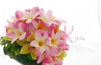 画像3: 造花ピンクプルメリア♪ ラウンドブーケ・ブトニア・ヘッドパーツセット