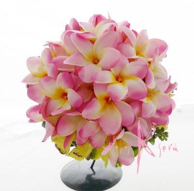 画像1: 造花ピンクプルメリア♪ ラウンドブーケ・ブトニア・ヘッドパーツセット