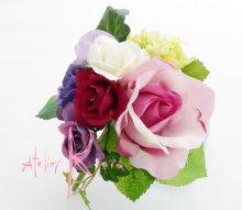 他の写真2: 造花パープルローズグラデーション シャワースタイルブーケ ボリュームT・ブトニア・ヘッドパーツセット