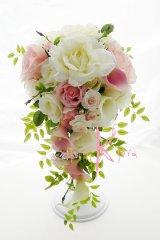 造花ホワイト&ピンクローズ&カラー キャスケードボリュームT・ブトニア・ヘッドパーツセット