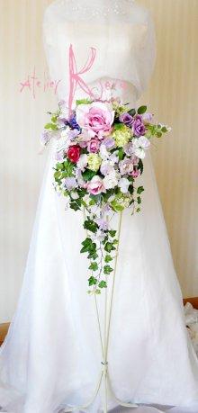 他の写真3: 造花パープルローズグラデーション シャワースタイルブーケ ボリュームT・ブトニア・ヘッドパーツセット