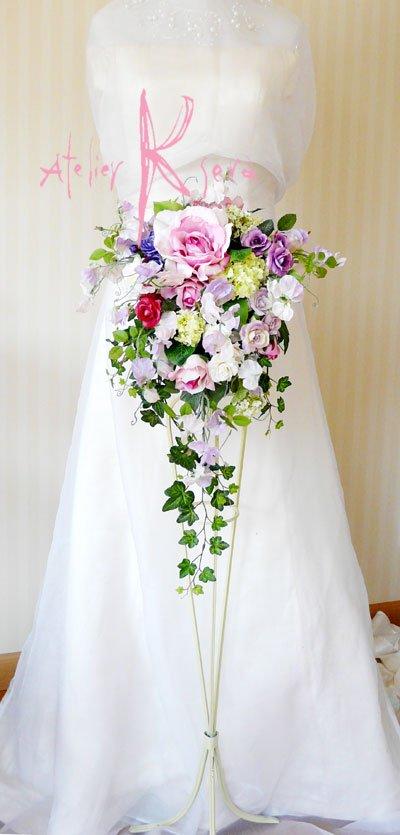 画像4: 造花パープルローズグラデーション シャワースタイルブーケ ボリュームT・ブトニア・ヘッドパーツセット