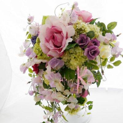 画像3: 造花パープルローズグラデーション シャワースタイルブーケ ボリュームT・ブトニア・ヘッドパーツセット
