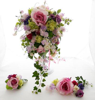 画像1: 造花パープルローズグラデーション シャワースタイルブーケ ボリュームT・ブトニア・ヘッドパーツセット