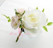 他の写真2: 造花ホワイト&ピンクローズ&カラー キャスケードボリュームT・ブトニア・ヘッドパーツセット