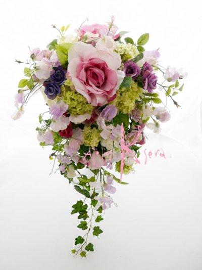 画像2: 造花パープルローズグラデーション シャワースタイルブーケ ボリュームT・ブトニア・ヘッドパーツセット