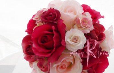 画像3: 造花ピンクグラデーションローズ ラウンドブーケ・ブトニア・ヘッドパーツセット