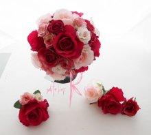 他の写真3: 造花ピンクグラデーションローズ ラウンドブーケ・ブトニア・ヘッドパーツセット