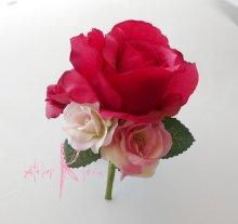 他の写真1: 造花ピンクグラデーションローズ ラウンドブーケ・ブトニア・ヘッドパーツセット
