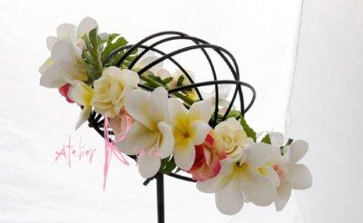 画像2: オーダーメイド クラッチ・ブトニア・花冠(プルメリア&アンスリウム)