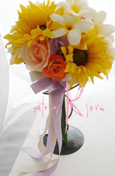 画像5: オーダーメイド クラッチ・ブトニア・花冠プラス花パーツ(プルメリア&ヒマワリ)