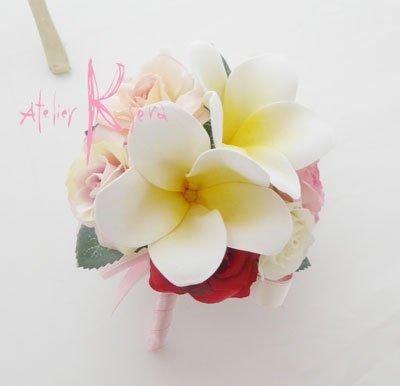 画像4: 造花オーダーメイド スティックブーケ&ブトニア(ミニローズ&プルメリア)