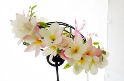 画像5: 造花オーダーメイド ラウンドブーケ・ブトニア・花冠セット(プルメリアP&W)