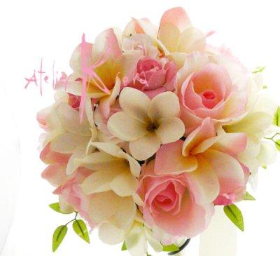 画像2: 造花オーダーメイド ラウンドブーケ・ブトニア・花冠セット(プルメリアP&W)