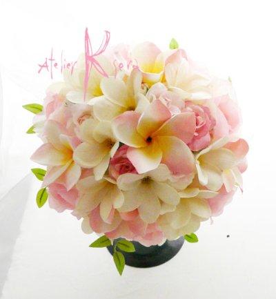 画像3: 造花オーダーメイド ラウンドブーケ・ブトニア・花冠セット(プルメリアP&W)