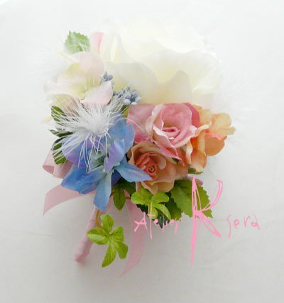 画像3: 造花オーダーメイドブーケ  スティックブーケ&ブトニア(ローズミックス&羽)