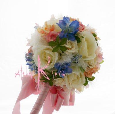 画像4: 造花オーダーメイドブーケ  スティックブーケ&ブトニア(ローズミックス&羽)