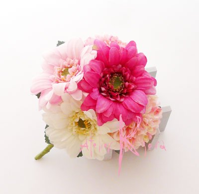画像3: 造花ピンク&ピンク ガーベラ・マムラウンドブーケ・ブトニア・ヘッドパーツセット