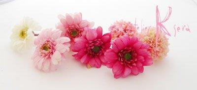 画像4: 造花ピンク&ピンク ガーベラ・マムラウンドブーケ・ブトニア・ヘッドパーツセット