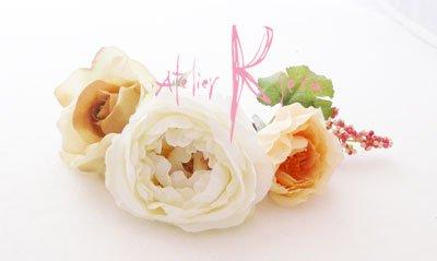 画像3: 造花ホワイトイングリッシュローズ&ピーチベージュ キャスケードブーケ・ブトニア・ヘッドパーツセット