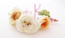 他の写真1: 造花ホワイトイングリッシュローズ&ピーチベージュ キャスケードブーケ・ブトニア・ヘッドパーツセット