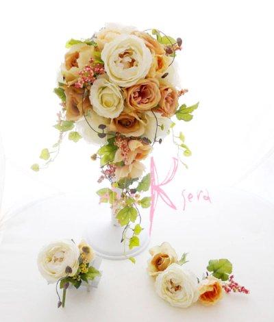 画像1: 造花ホワイトイングリッシュローズ&ピーチベージュ キャスケードブーケ・ブトニア・ヘッドパーツセット