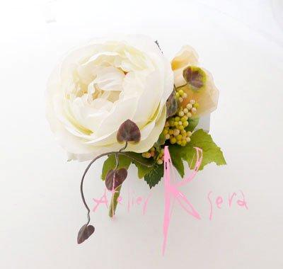 画像5: 造花ホワイトイングリッシュローズ&ピーチベージュ キャスケードブーケ・ブトニア・ヘッドパーツセット