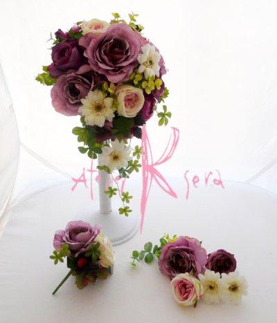 画像2: 造花パープルローズ&ホワイトガーベラ ショートキャスケードブーケ・ブトニア・ヘッドパーツセット