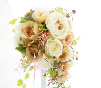 画像4: 造花ホワイトイングリッシュローズ&ピーチベージュ キャスケードブーケ・ブトニア・ヘッドパーツセット