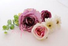 他の写真1: 造花パープルローズ&ホワイトガーベラ ショートキャスケードブーケ・ブトニア・ヘッドパーツセット