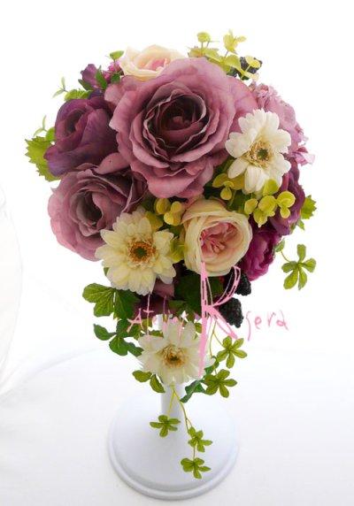 画像1: 造花パープルローズ&ホワイトガーベラ ショートキャスケードブーケ・ブトニア・ヘッドパーツセット