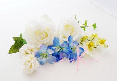 画像4: 造花ホワイトローズ&ブルー キャスケードブーケ・ブトニア・ヘッドパーツセット