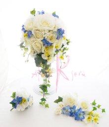 他の写真3: 造花ホワイトローズ&ブルー キャスケードブーケ・ブトニア・ヘッドパーツセット