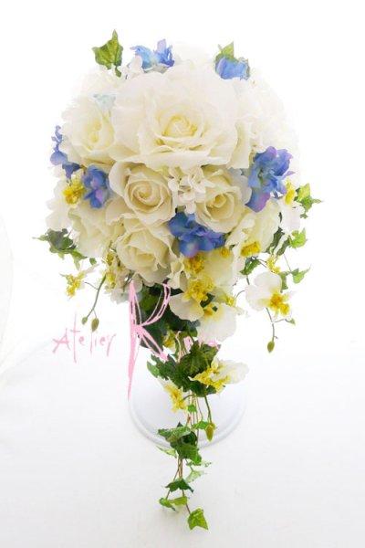 画像1: 造花ホワイトローズ&ブルー キャスケードブーケ・ブトニア・ヘッドパーツセット