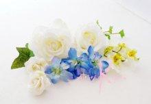 他の写真1: 造花ホワイトローズ&ブルー キャスケードブーケ・ブトニア・ヘッドパーツセット