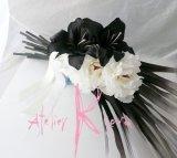 造花オーダーメイドブーケ フリースタイルクラッチブーケ(ブラック&ホワイトモノトーン)