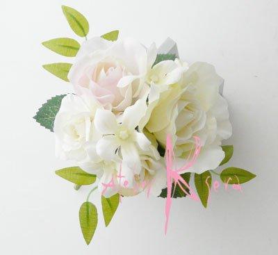 画像3: 造花オーダーメイドブーケ  キャスケード・ブトニア・花冠(ホワイトローズ・ジャスミン&ライトピンク)