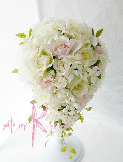 画像2: 造花オーダーメイドブーケ  キャスケード・ブトニア・花冠(ホワイトローズ・ジャスミン&ライトピンク)