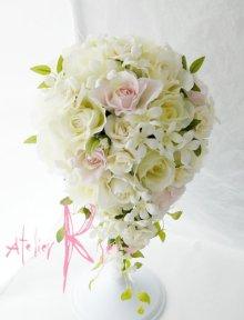 他の写真2: 造花オーダーメイドブーケ  キャスケード・ブトニア・花冠(ホワイトローズ・ジャスミン&ライトピンク)