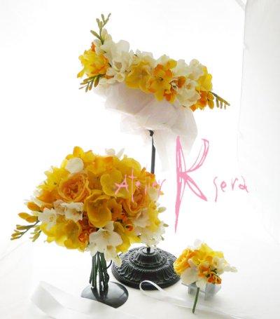 画像2: 造花オーダーメイドブーケ  クラッチ・ブトニア・ボリューム花冠(YWフリージア&ラン)