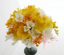 他の写真1: 造花オーダーメイドブーケ  クラッチ・ブトニア・ボリューム花冠(YWフリージア&ラン)