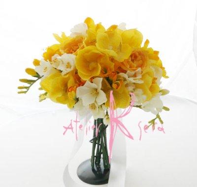 画像3: 造花オーダーメイドブーケ  クラッチ・ブトニア・ボリューム花冠(YWフリージア&ラン)