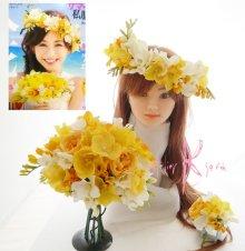他の写真2: 造花オーダーメイドブーケ  クラッチ・ブトニア・ボリューム花冠(YWフリージア&ラン)